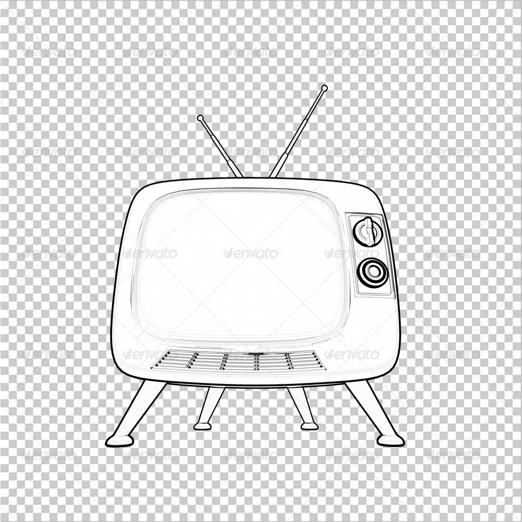 1024x1024 Contour Line Render Of Classic Tv By Lgtaegi Graphicriver