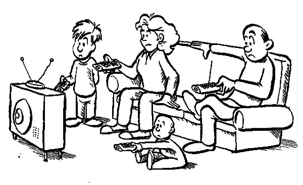600x366 Joint Family Everybody Has Tv Remote Control Coloring Pages