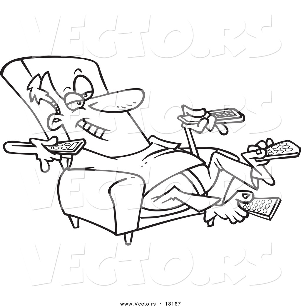 1024x1044 Vector Of A Cartoon Man Sitting In A Recliner And Holding Many