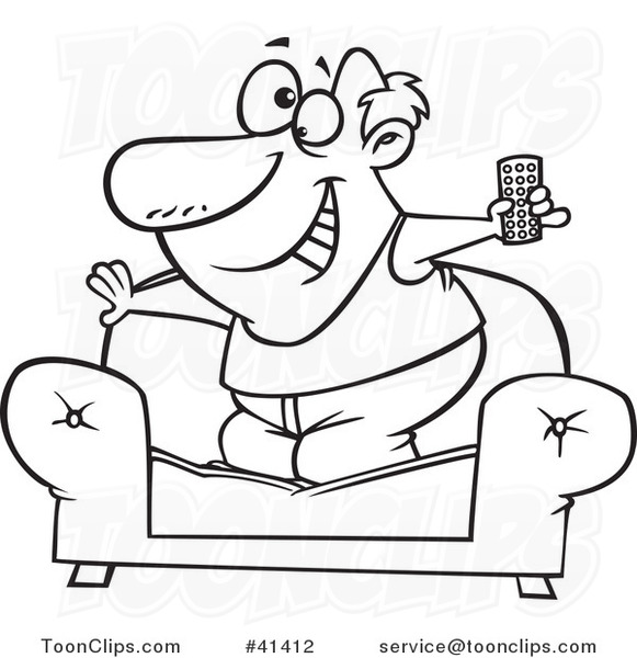 581x600 Cartoon Outlined Couch Surfer Guy Standing On His Sofa With A Tv