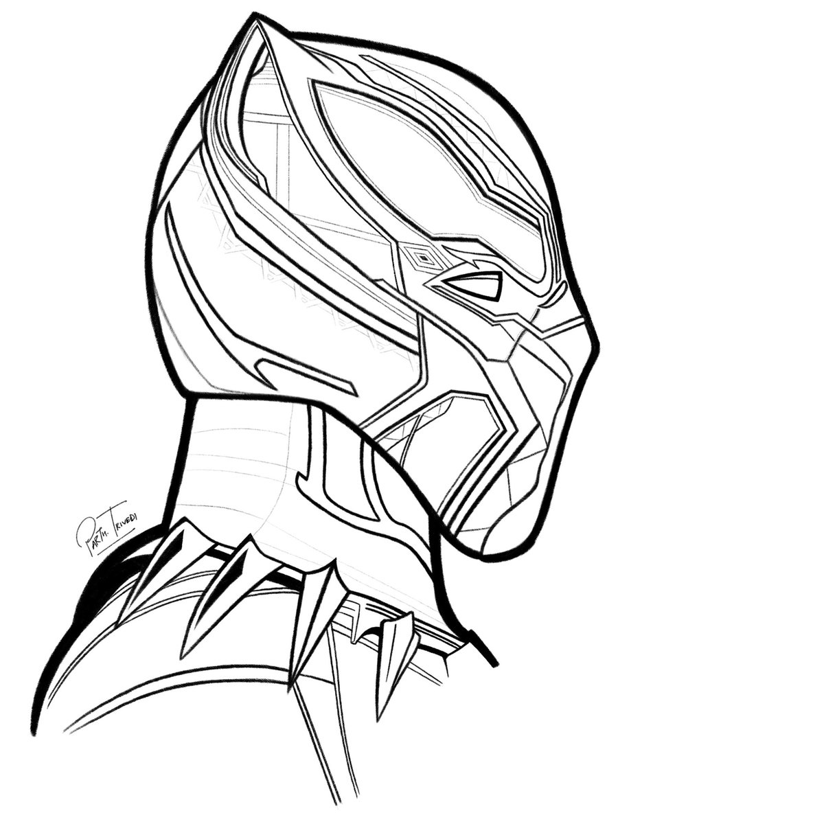 1200x1200 Parth Trivedi On Twitter Drawing Of @theblackpanther In Progress