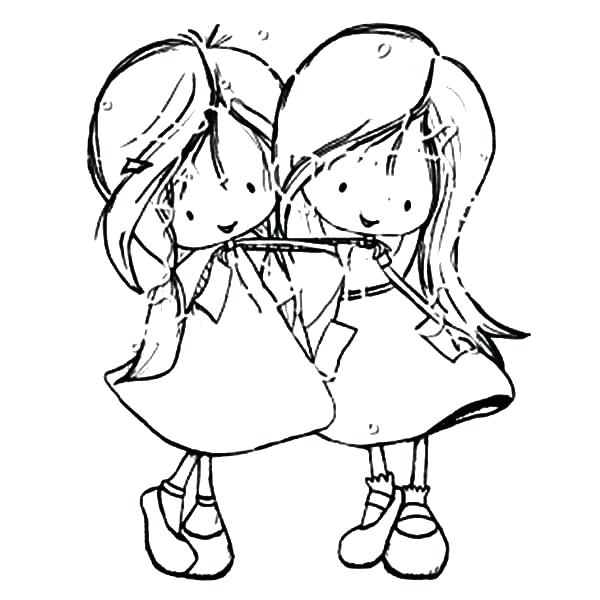 600x600 Excellent Best Friend Coloring Pages Image Friends Two Little Girl