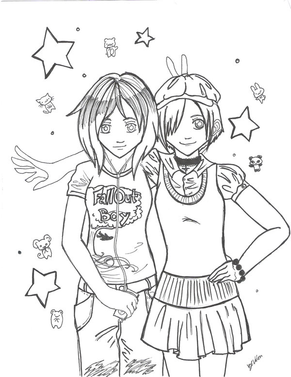 It is a graphic of Magic Drawing Of Two Best Friends