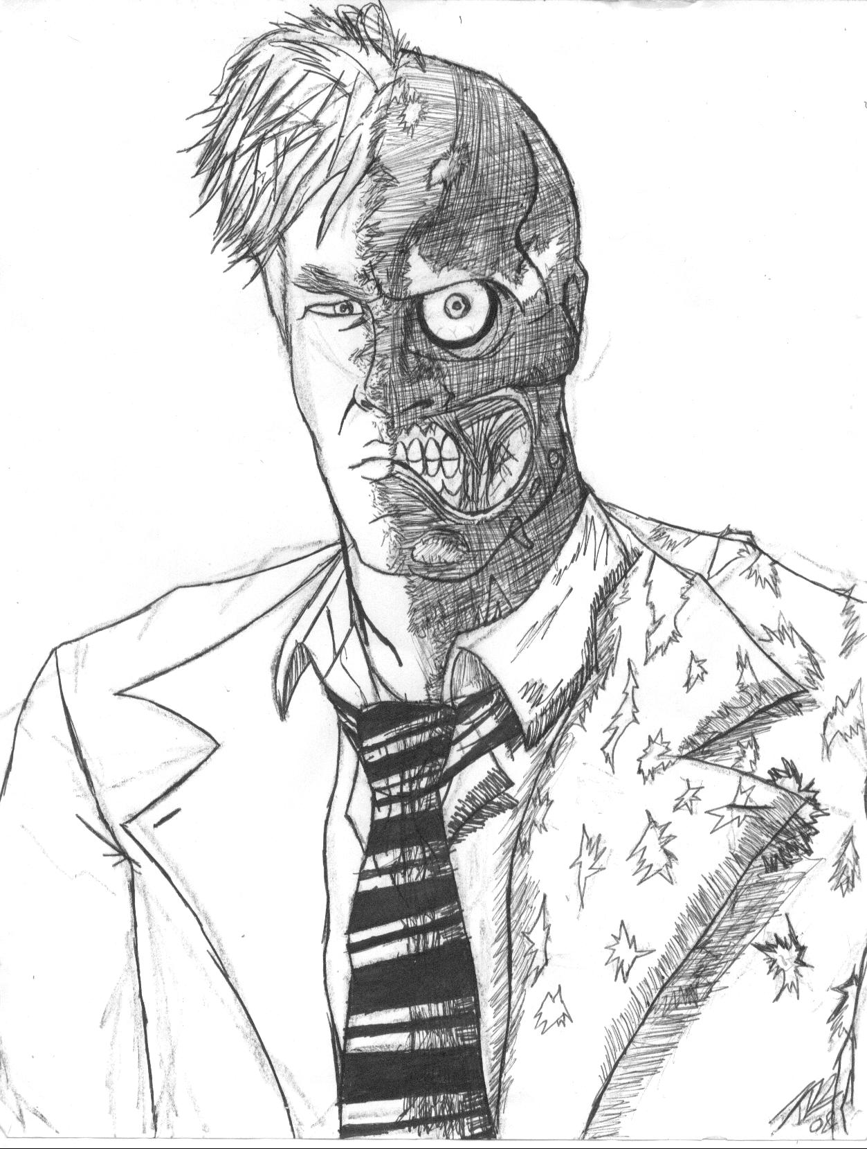 1253x1659 Two Face Sketch By Kelvin8
