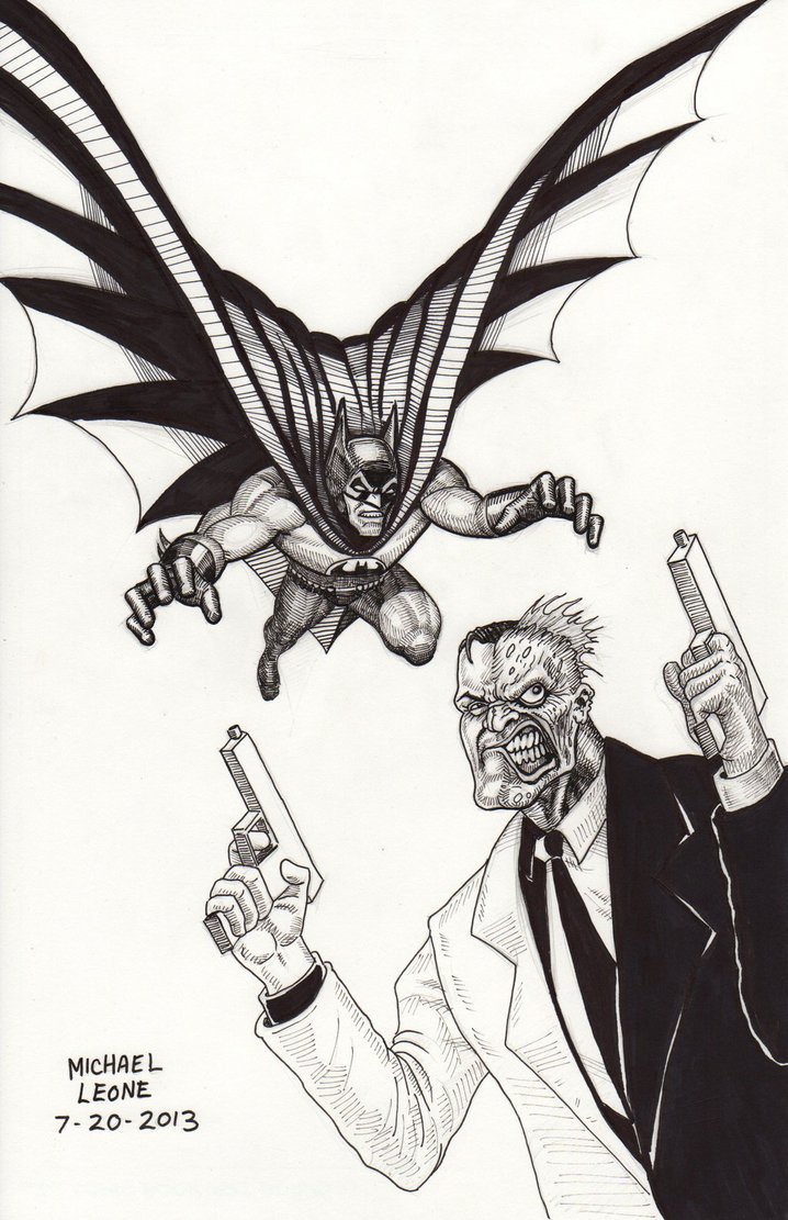 718x1111 Batman Vs Two Face Inks 7 20 2013 By Myconius