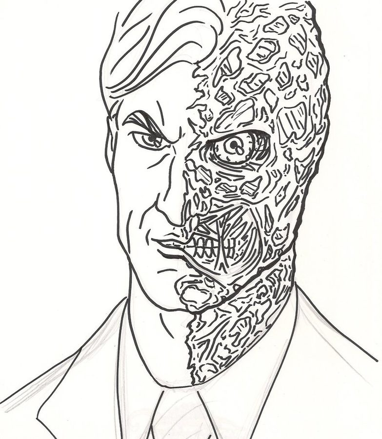 783x900 Coloring Pages Two Face, Printable For Kids Amp Adults, Free