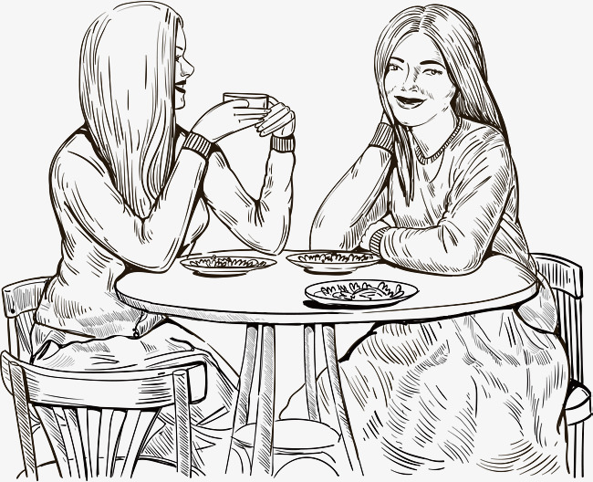650x528 Hand Drawn Two Girls For Dinner, Vector Png, Eat Together, Sketch