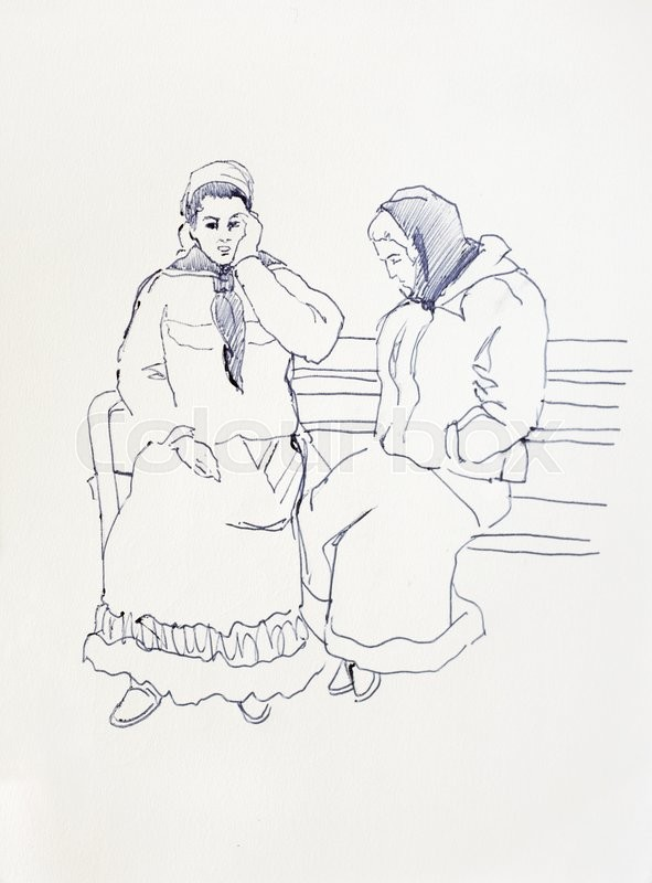 591x800 Sketch Drawing Of Two Romani Women Sitting On The Bench, Gypsy