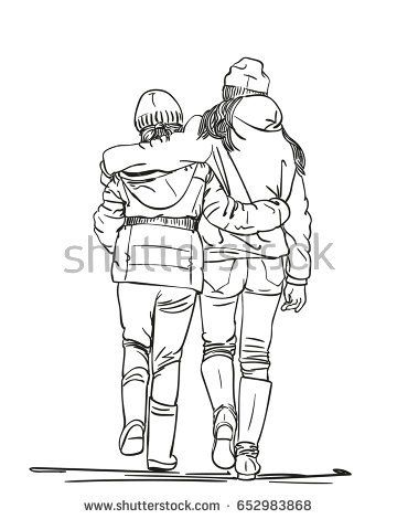 360x470 Sketch Of Two Girls Friends Walk Embracing, View From Behind, Hand