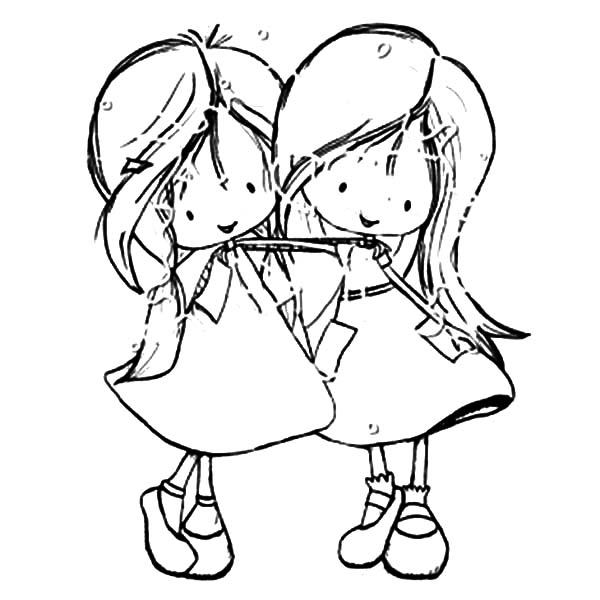 600x600 Two Girls Coloring Little Girl Coloring
