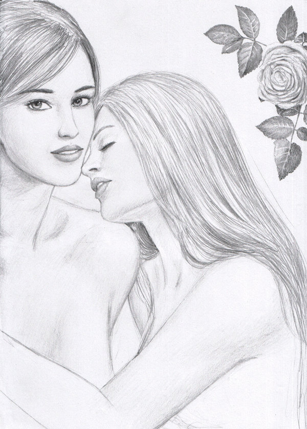 600x840 Two Girls And A Rose By Dashinvaine