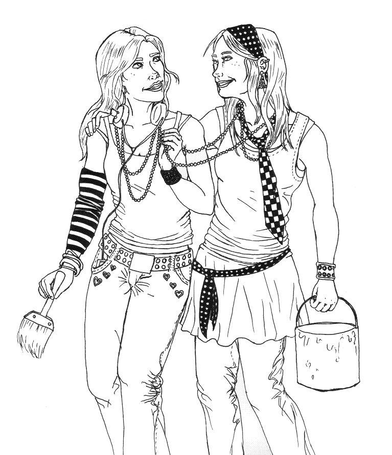 767x891 Two Girls Linework By Shattered Black Rose