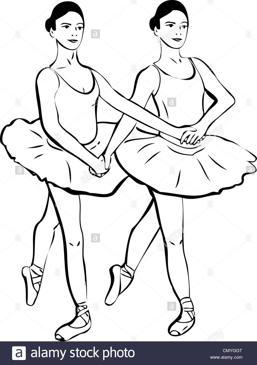 977x1390 Sketch Of Two Girls Standing In A Pair Of Ballerina Stock Photo