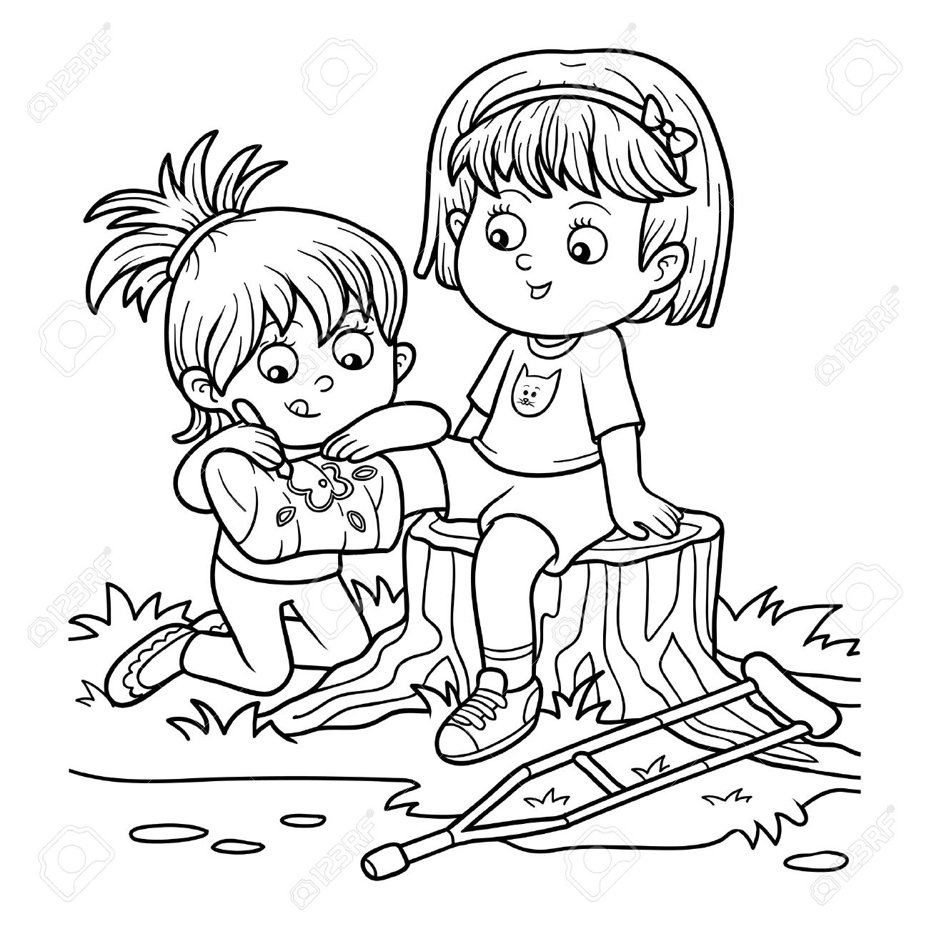 1300x1300 Coloring Book For Children (Two Girls On The Glade, Girl Draws