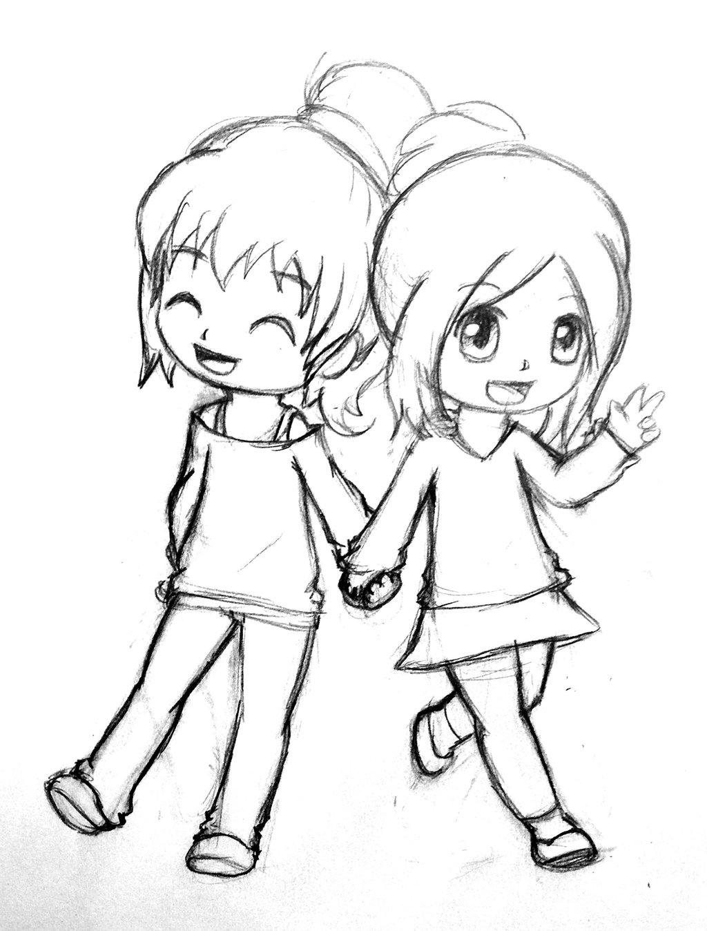 1024x1348 Cute Drawings Of Friendship How To Draw Two Cute Girls Easy