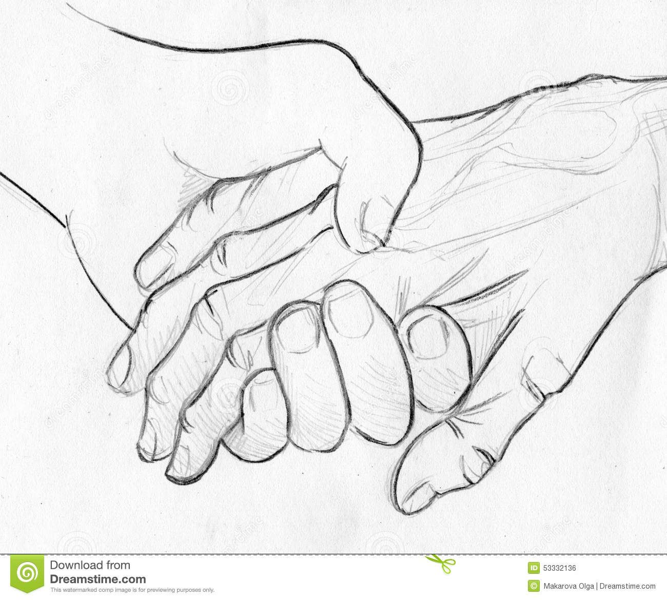 1300x1169 Holding Elderly Hand Pencil Sketch Drawn Two Hands One Young One