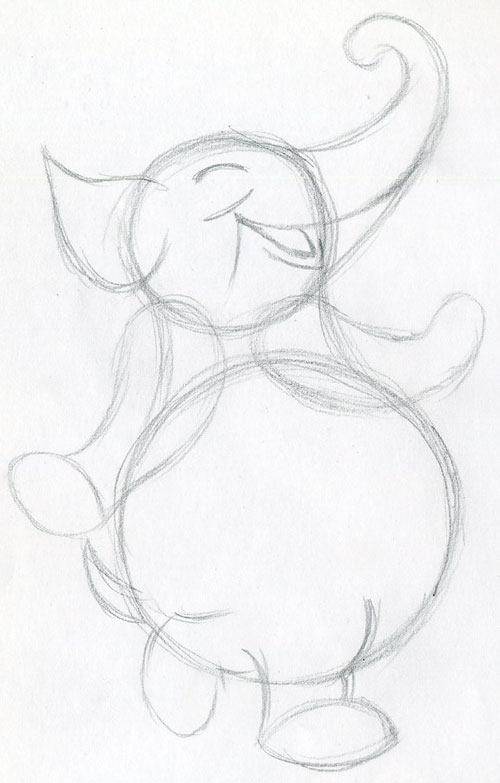 500x783 Walking Cartoon Elephant, Very Cute, Easy To Draw