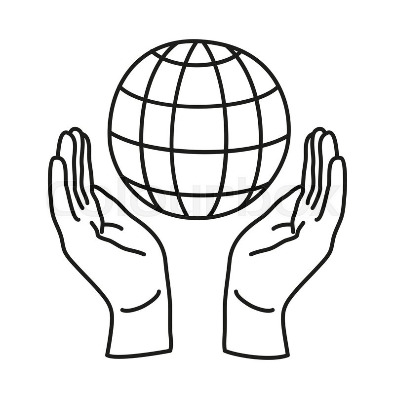 800x800 Doodle Icon. Two Hands Holding A Globe. Save The Earth