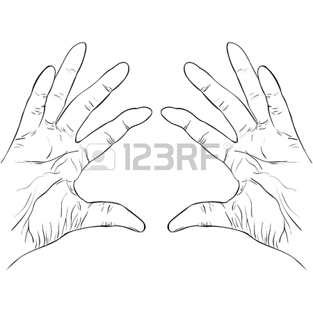 450x450 Ink Sketch Two Hands Holding Something Vector Illustration Royalty
