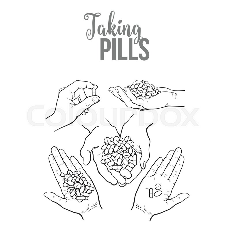 800x800 Set Of Hands Holding Pills, Tablets, Black And White Sketch Style