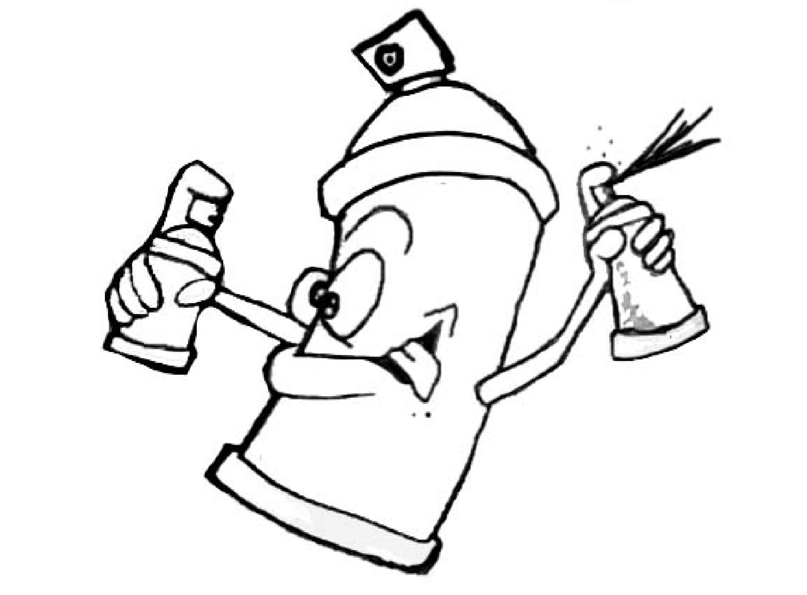 2592x1912 Learn To Draw A Funny Spray Can Holding Two Paint Cans