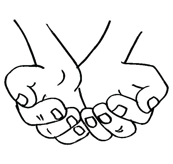 600x569 Coloring Page Of A Hand Two Hands Pages
