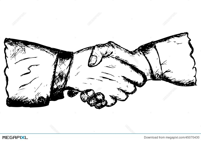 800x563 Hand Draw Sketch Two Hand Shaking Stock Photo 45070430