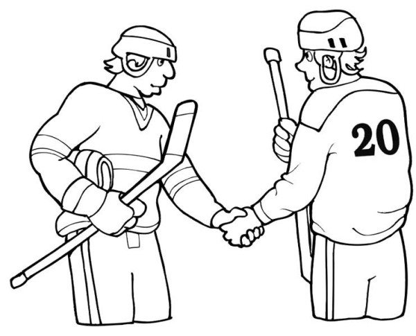 600x485 Two Hockey Player Shaking Hand Coloring Page