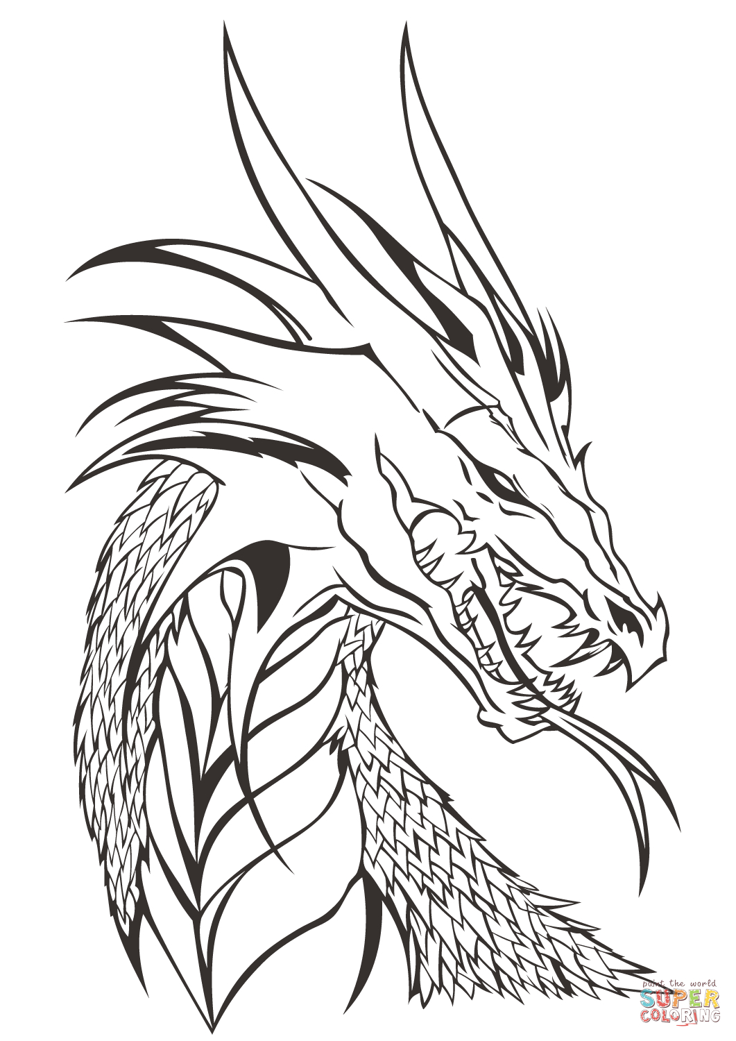 1061x1500 Drawing Of A Dragon Head Dragon Head Coloring Page Free