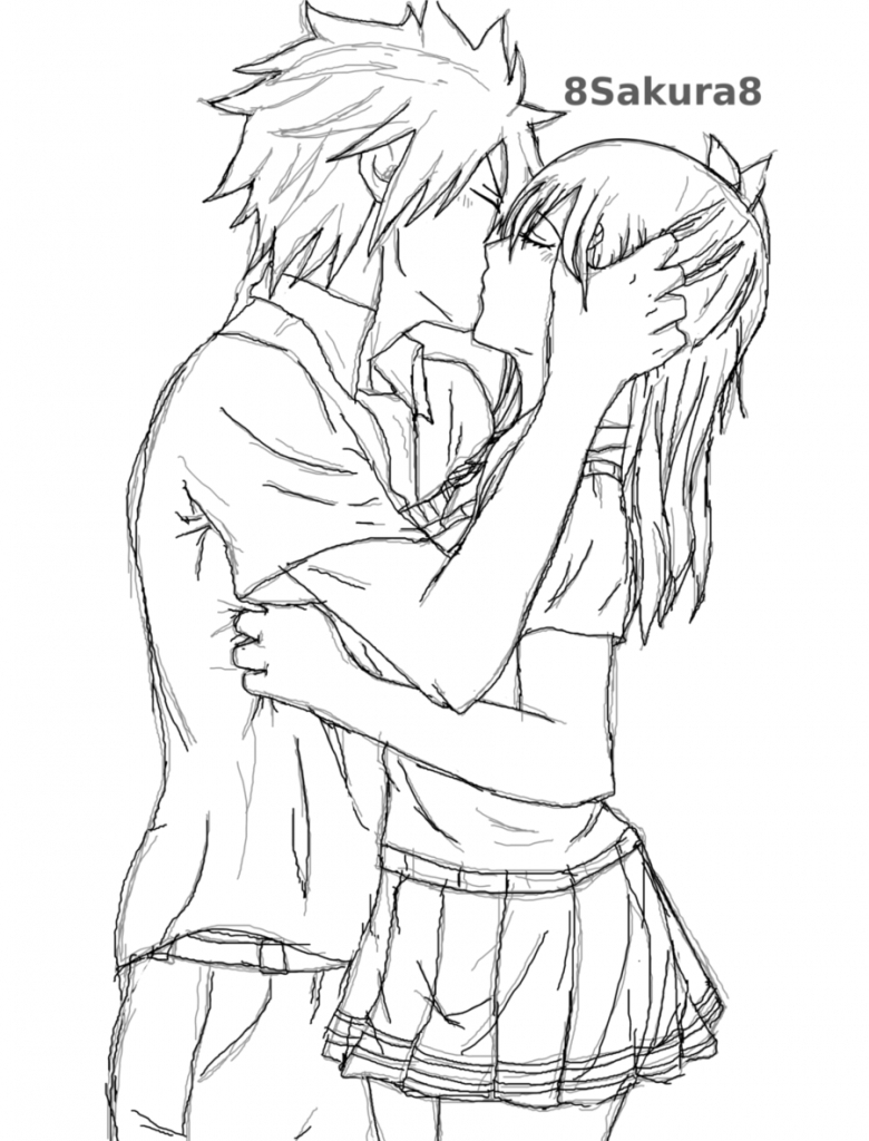 780x1024 Drawn Anime Love Kiss Pencil And In Color Drawn Anime Love Kiss
