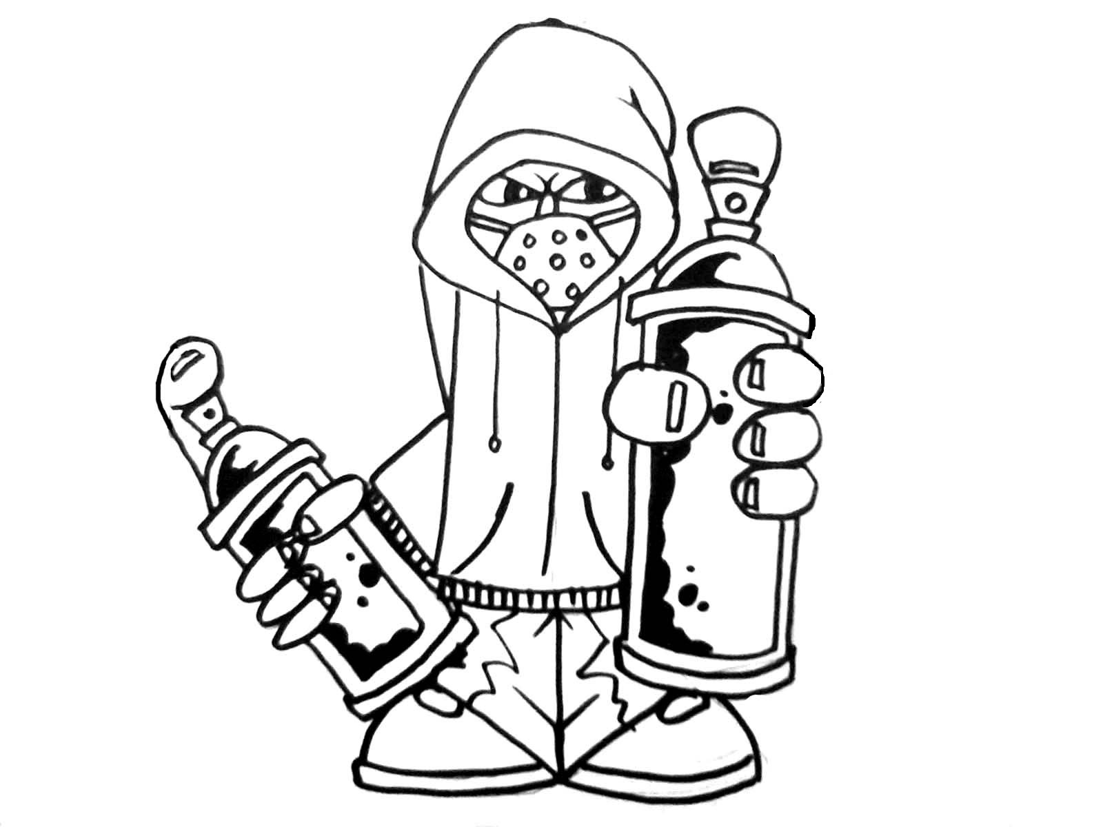 1600x1200 How To Draw Graffiti Characters Holding 2 Cans