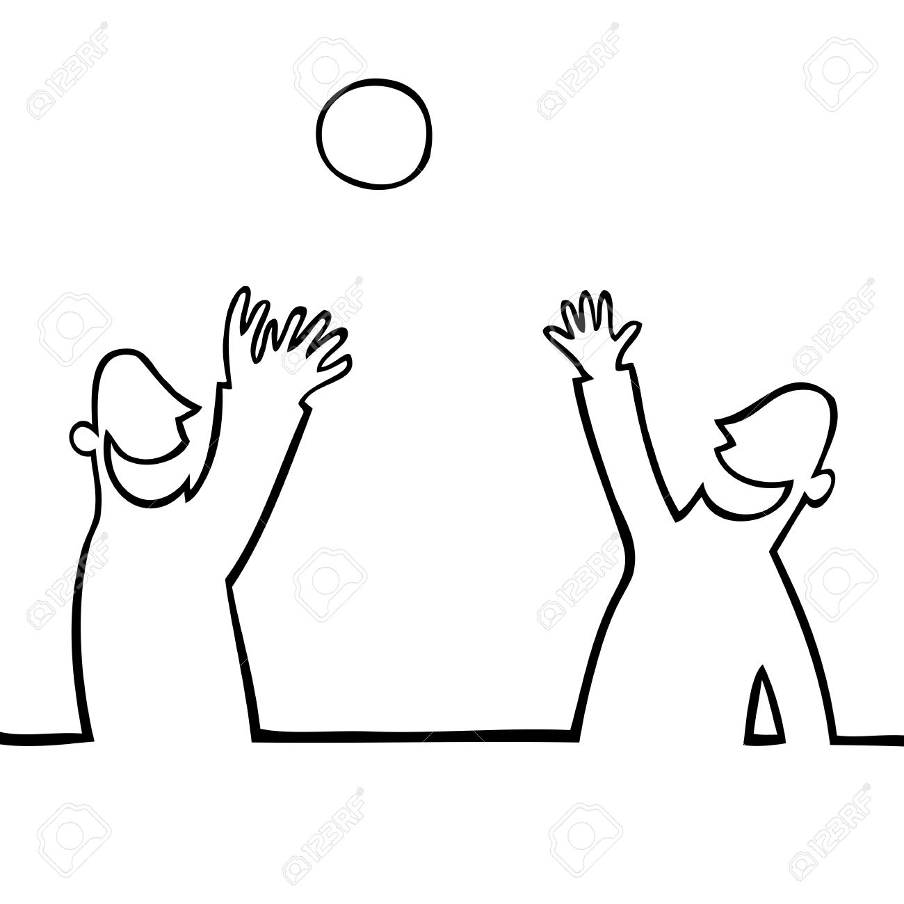 1300x1300 Black And White Drawing Of Two People Throwing A Ball At Each