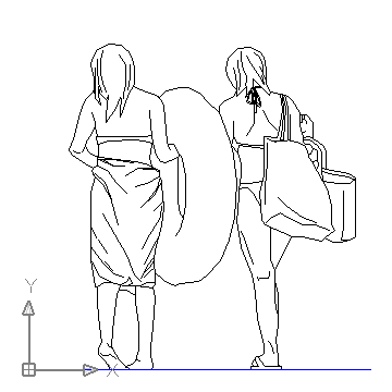 360x360 Two Women In The Beach Block In People Women Autocad Free Drawing