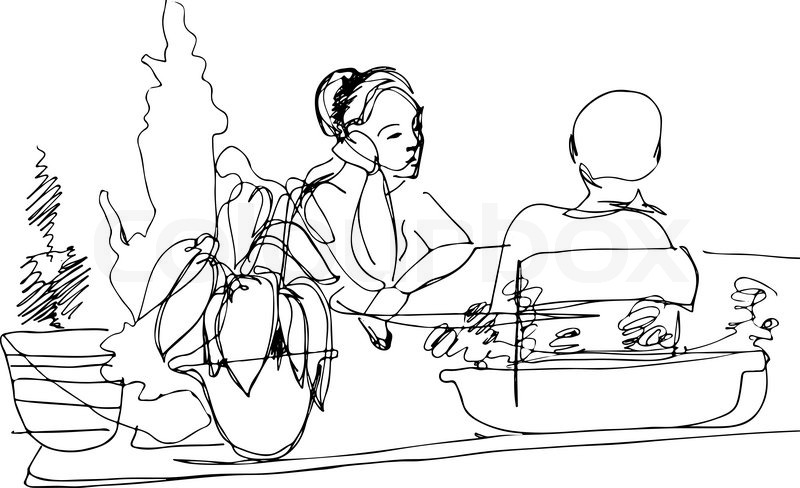 800x488 Black And White Sketch Of Two Women