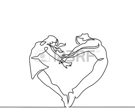 450x375 Continuous Line Drawing. Two People Couple Make Heart In Jump