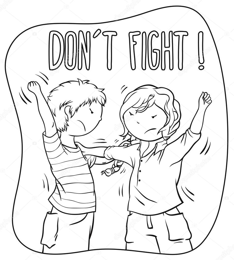 921x1023 Drawing Of Two People Fighting Two Kids Fighting (Girl And Boy