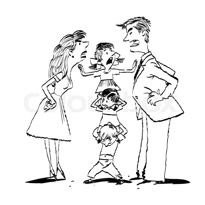 800x800 Quarrel In The Family, Mom And Dad Fighting, Kids Calm, Hand Drawn