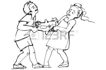 450x298 Two Cartoon Girls Fight For The Dress, Vector Image, Eps10 Royalty