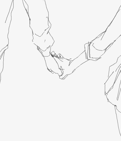 Two People Holding Hands Drawing