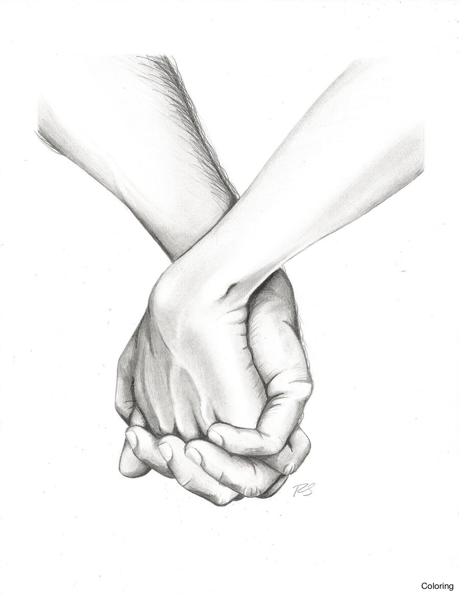 900x1164 How To Draw Holding Hands Stepbystep Drawingtutorial Coloring Here