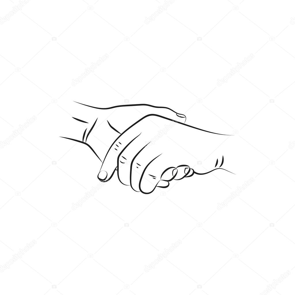 1024x1024 Illustration Vector Drawn Female And A Male Person Holding Hands