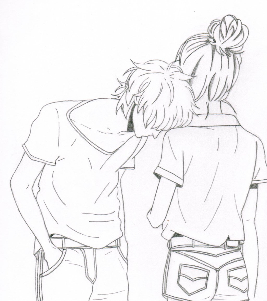 Two People Hugging Drawing At Getdrawings Com Free For Personal