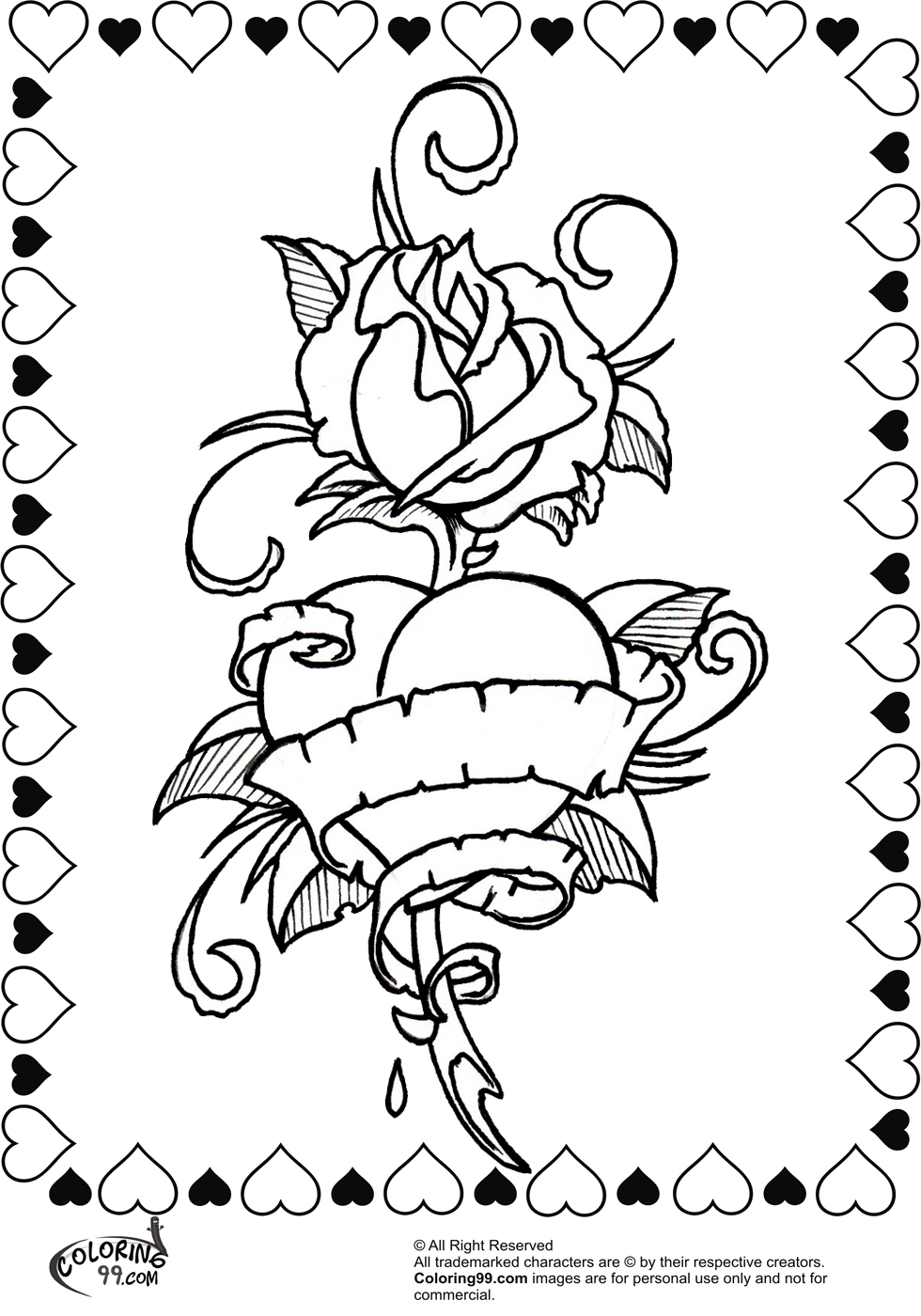 980x1400 Heart With Roses Coloring Pages