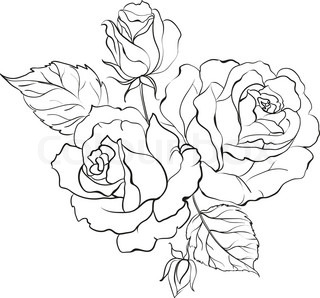 320x298 Red Rose In Cartoon Style For Tattoo Design Vector Illustration