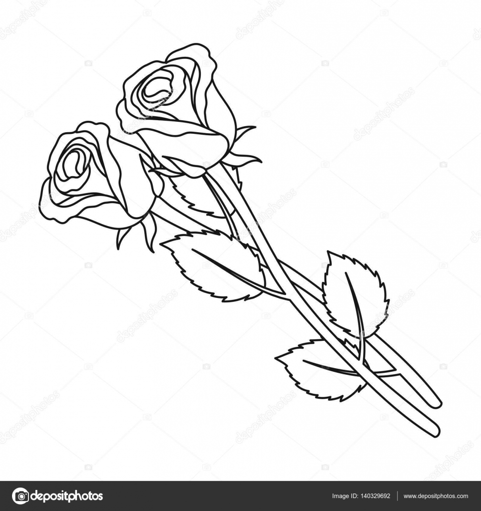 963x1024 Two Roses Icon In Outline Style Isolated On White Background
