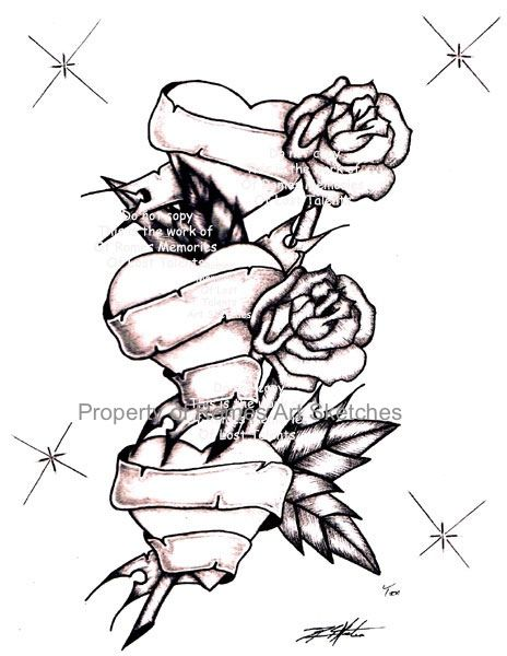 464x600 Sketches Of Tattoos Sketch Drawing Two Long Stem Roses Piecing