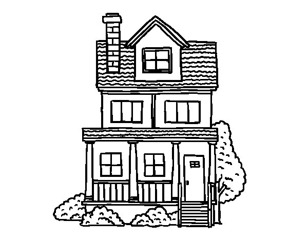 600x470 Two Story House With Attic Coloring Page