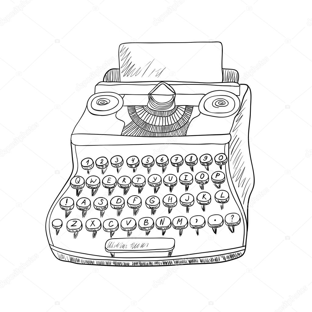 1024x1024 Typewriter On White Background. Black And White Illustration