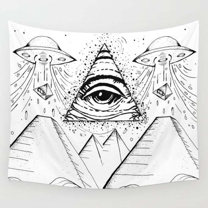700x700 Ufo Pyramid Capture Wall Tapestry By Ronytomano Society6