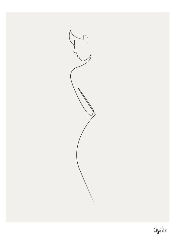 577x800 One Line Nude As Canvas Print By Quibe Juniqe Uk